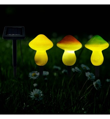 3LED Solar Panel Garden Mushroom Lamp