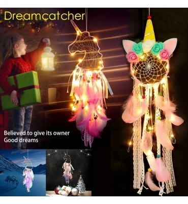 Colorful Feather Unicorn Dream Catcher With Night Light
