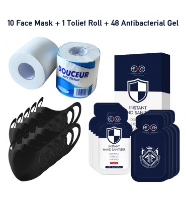 10 Face Mask Plus 1 Toliet Roll and 48PCS Antibacterial Gel