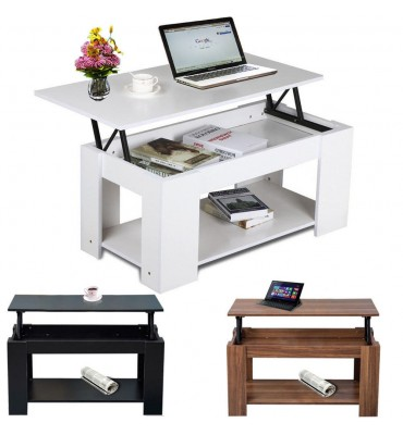 Lift Up Top Coffee Table with Storage & Shelf