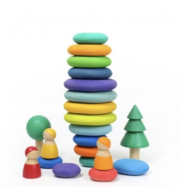 Children Wooden Rainbow Flat Stone