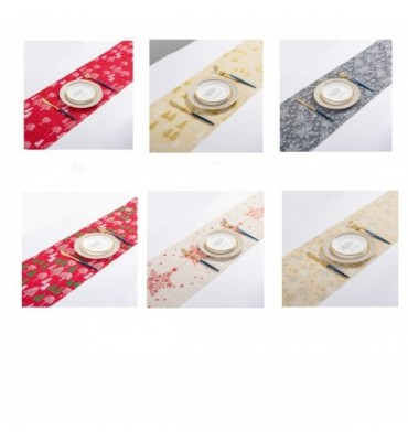 Merry Christmas Red Snowflake Long Table Runner Cloth
