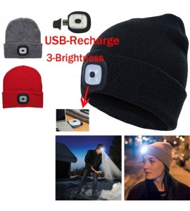 Unisex Knitted Hat with LED Light
