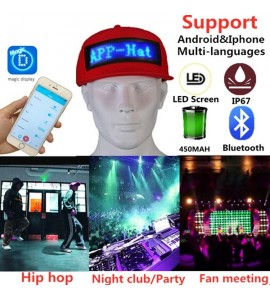 LED Display Advertising Hat With Bluetooth Light