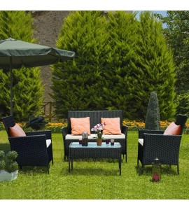 4 PIECE RATTAN GARDEN FURNITURE SET