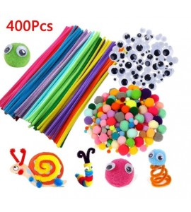 400Pcs Plush Stick / Toy Eyes / Pompoms Rainbow DIY Toys