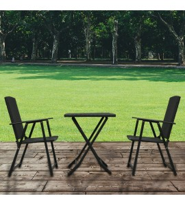 3PC Rattan Furniture Set Folding Chair Table