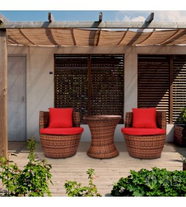 2-Seater Balcony Rattan Garden Furniture Set
